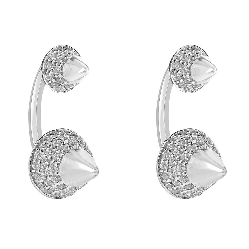 Sterling Silver Rhodium Plating and CZ Spike Stud Earrings