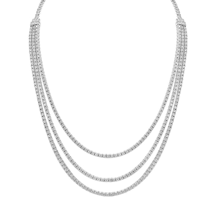 Sterling Silver Rhodium Plated and 3 layer of CZ Necklace