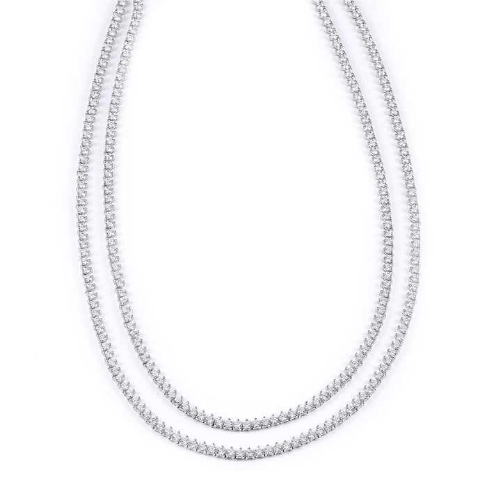 Sterling Silver Rhodium Plated and 3mm CZ Necklace