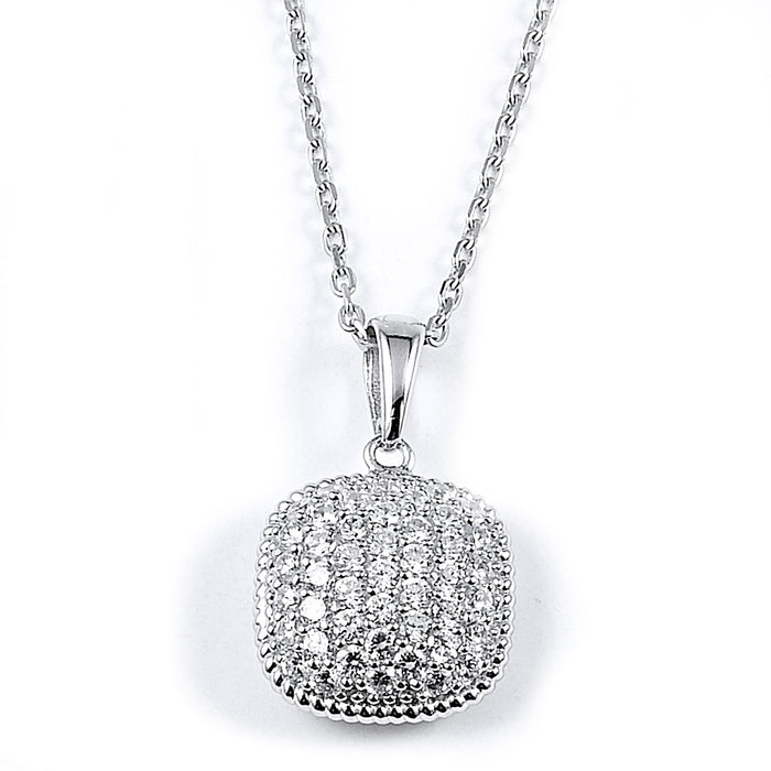 Sterling Silver Rhodium Plated and micro-pave CZ Cushion Necklace