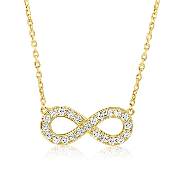 Sterling Silver Rhodium Plated and CZ Infinity Necklace
