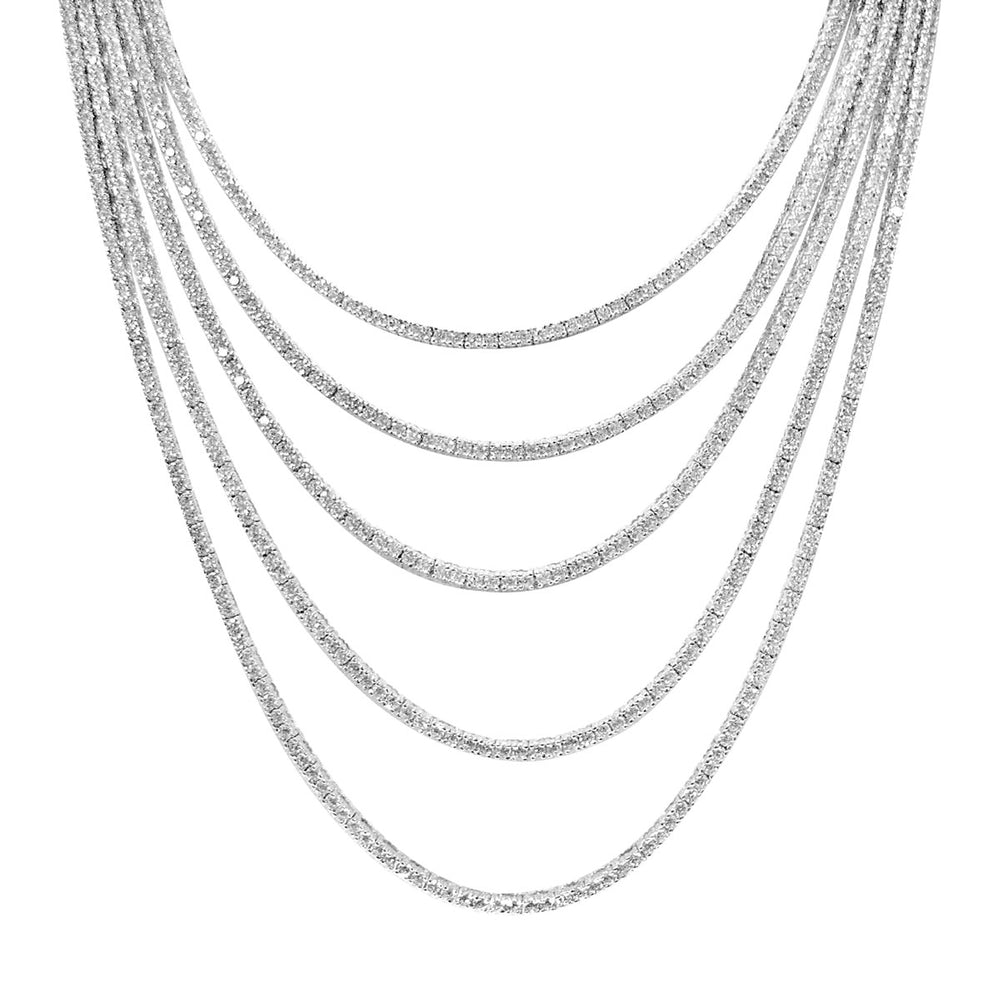 Sterling Silver Rhodium Plated and 7 Layer of CZ Necklace