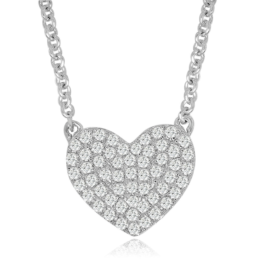 Sterling Silver Rhodium Plated with micro-pave CZ dainty Heart Necklace