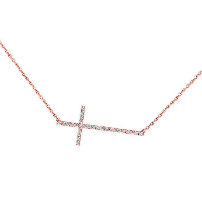 Sterling Silver Rhodium Plated and CZ dainty sideway cross necklace