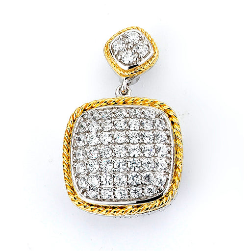 Sterling Silver and micro-pave CZ Cushion Pendant