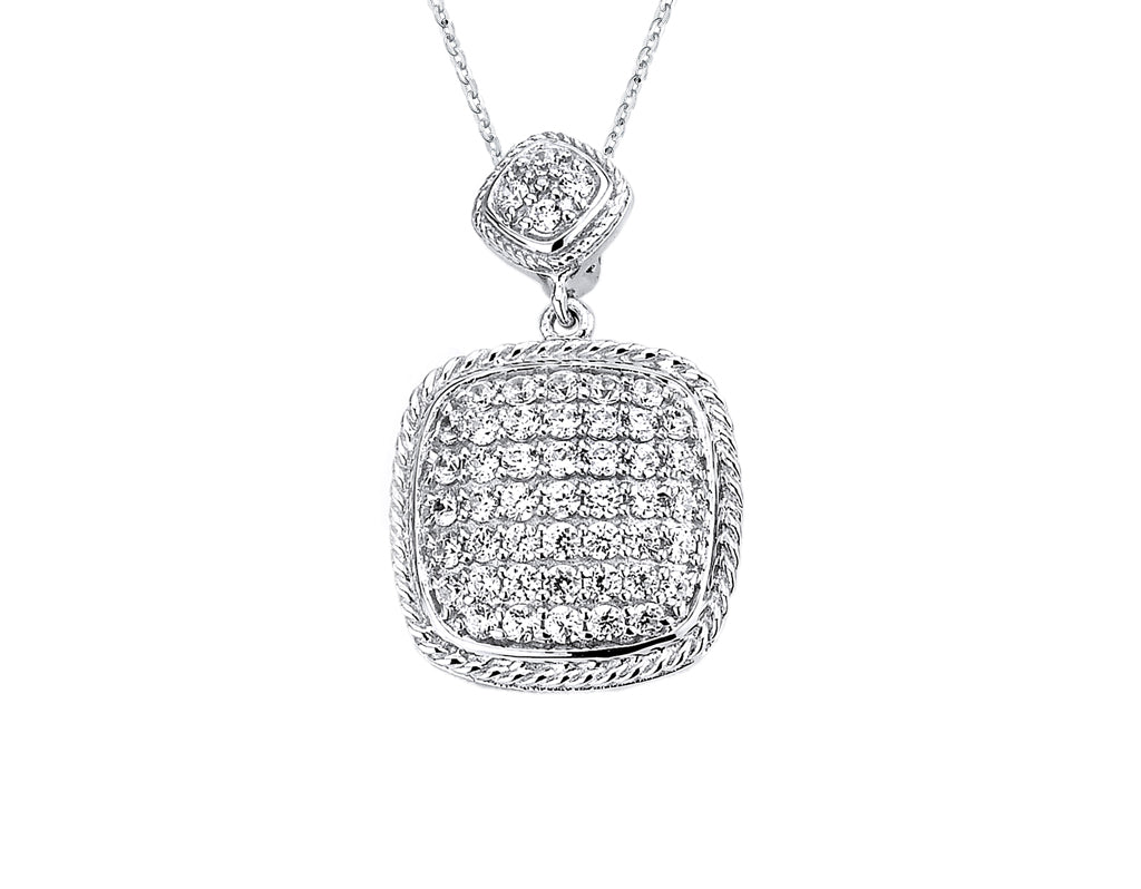 Sterling Silver Rhodium Plated and micro-pave CZ Cushion Pendant