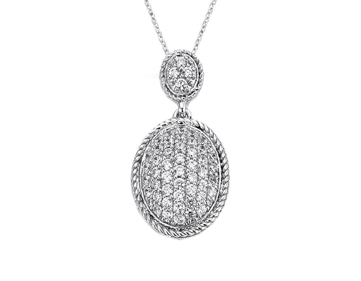 Sterling Silver Rhodium Plated and micro-pave CZ Oval Pendant