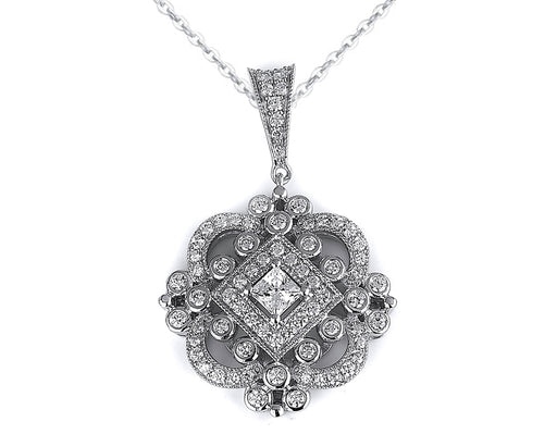 Sterling Silver Rhodium Plated and CZ Antique Pendant
