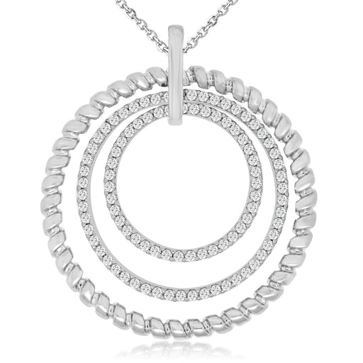 Sterling Silver Rhodium Plated and CZ Circular Pendant
