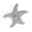 Sterling Silver Rhodium Plated and micro-pave CZ Starfish Necklace