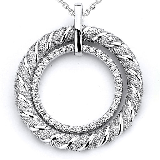 Sterling Silver Rhodium Plated and micro-pave CZ Circular Rope Pendant