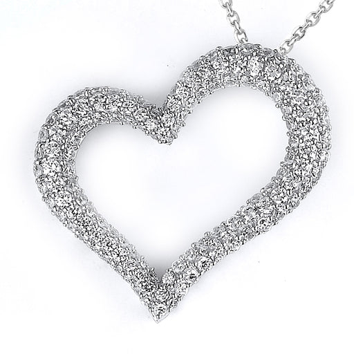 Sterling Silver Rhodium Plated and micro-pave CZ Heart Pendant