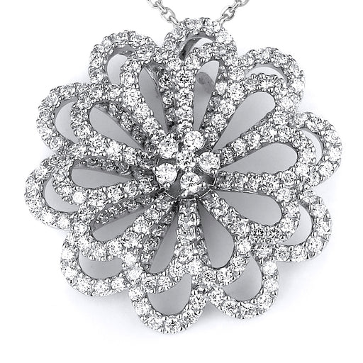 Sterling Silver Rhodium Plated and micro-pave CZ Flower Pendant