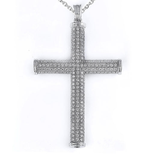 Sterling Silver Rhodium Plated and micro-pave CZ Cross Pendant