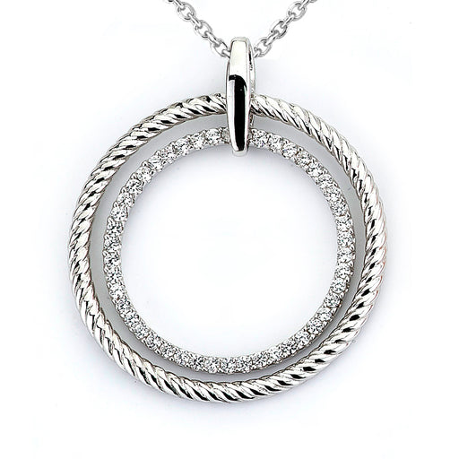 Sterling Silver Rhodium Plated and CZ Circular Rope Pendant