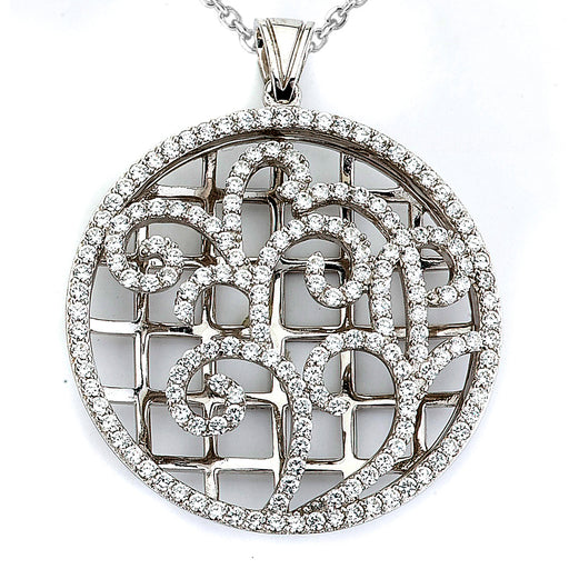 Sterling Silver Rhodium Plated with filigree and CZ Pendant