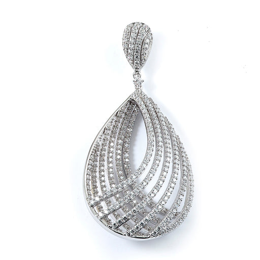 Sterling Silver Rhodium Plated and micro-pave CZ Pear Shape Pendant