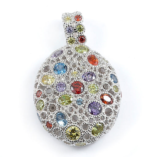 Sterling Silver Rhodium Plated and multi-color CZ Pendant