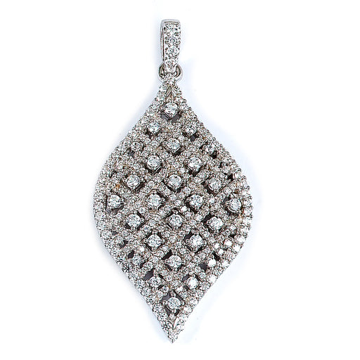 Sterling Silver Rhodium Plated and CZ Leaf Pendant