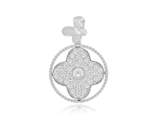 Sterling Silver Rhodium Plated with CZ Flower and Butterfly Pendant