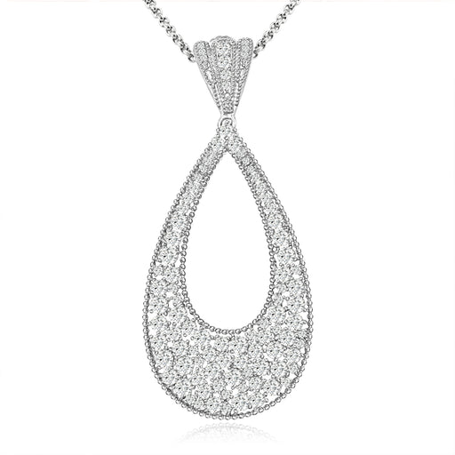 Sterling Silver Rhodium Plated and CZ Teardrop Pendant