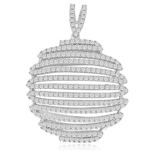Sterling Silver Rhodium Plated with micro-pave CZ Zig Zag Pendant