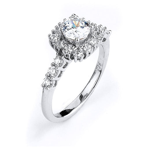 Sterling Silver Rhodium Plated and CZ center stone Engagement Ring