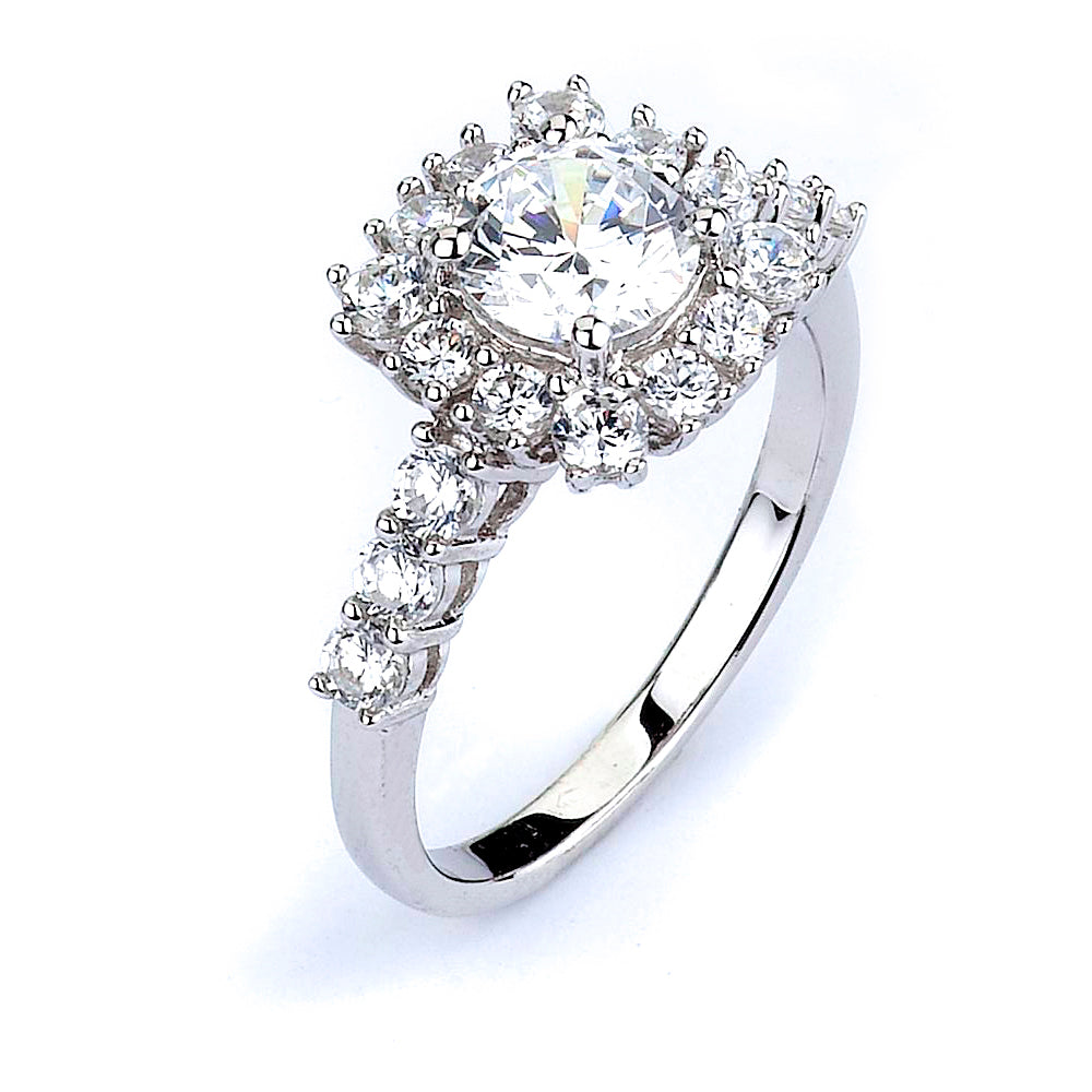 Sterling Silver Rhodium Plated and CZ center stone Halo Engagement Ring
