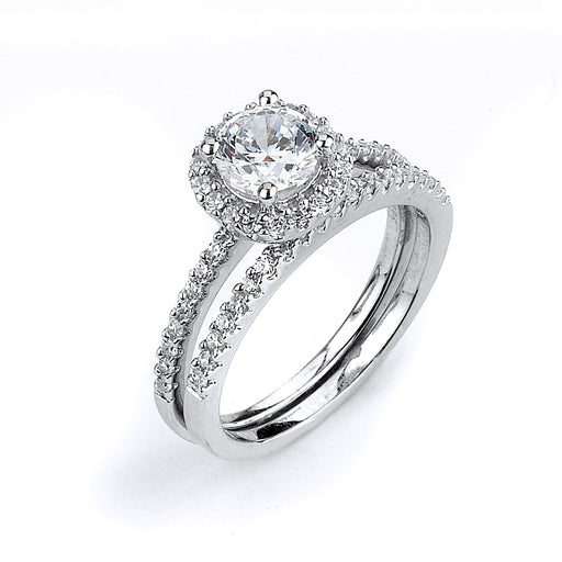 Sterling Silver Rhodium Plated and CZ center stone Halo Wedding Set