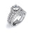 Sterling Silver Rhodium Plated and  CZ center stone Halo Double Shank Wedding Set