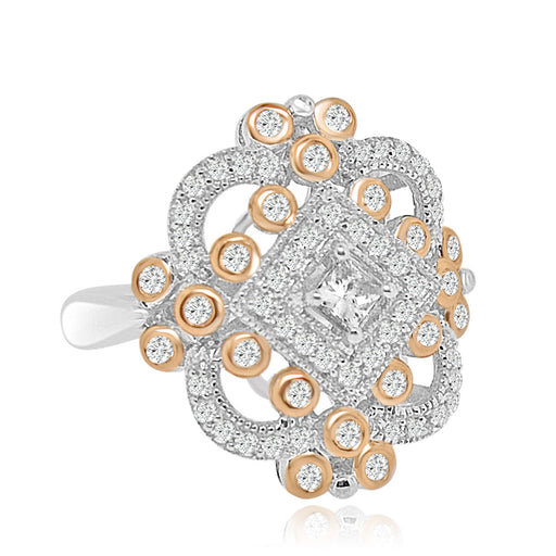 Sterling Silver Rose Gold Plated and CZ Ring