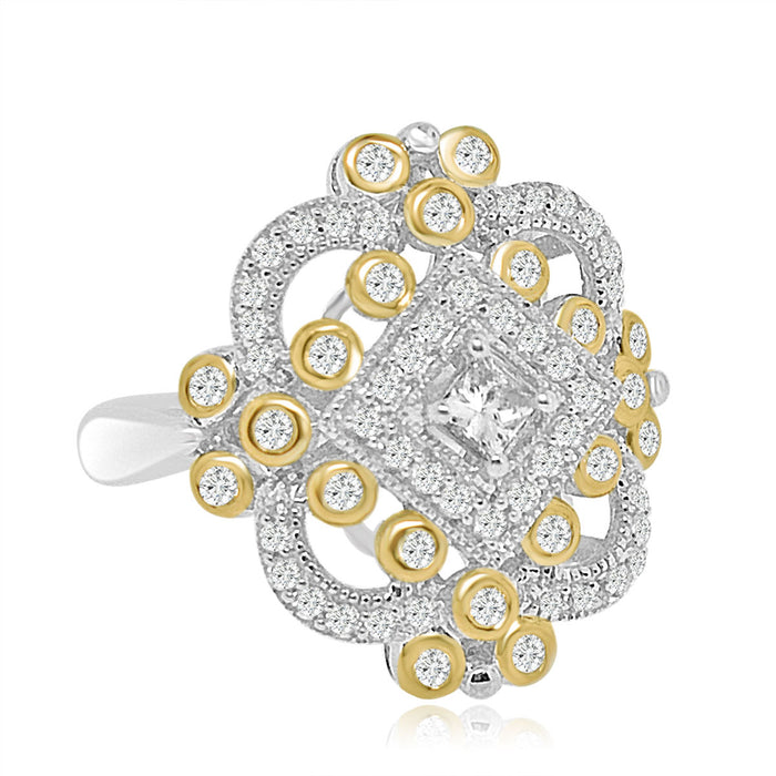 Sterling Silver Gold Plated and CZ Ring