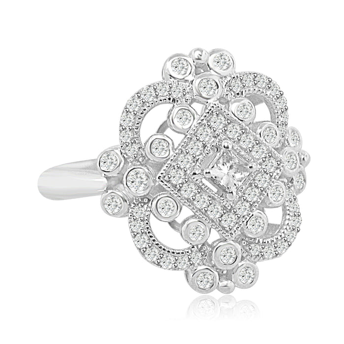 Sterling Silver Rhodium Plated and CZ Ring
