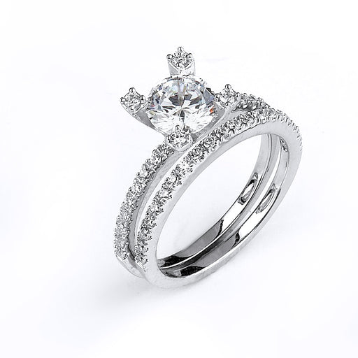 Sterling Silver Rhodium Plated and CZ center stone Wedding Set