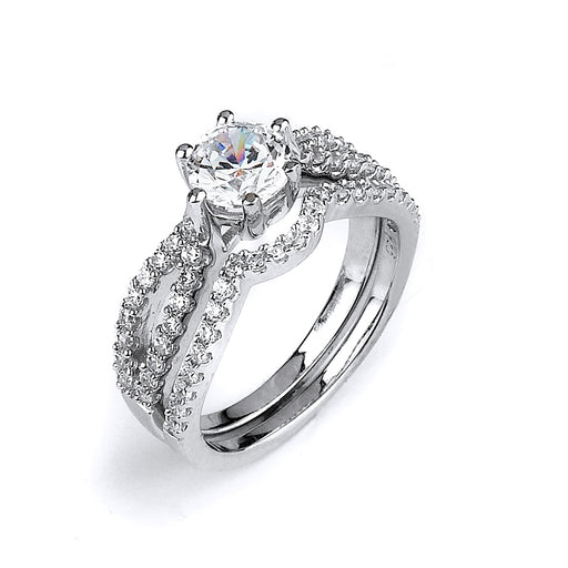 Sterling Silver Rhodium Plated and CZ Split Shank Engagement Ring