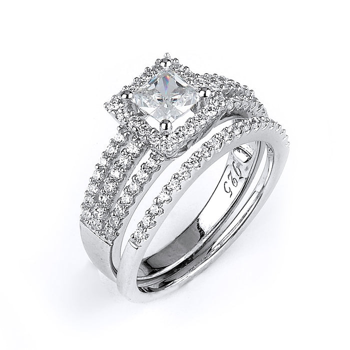 Sterling Silver Rhodium Plated and Princess cut CZ center stone Triple Shank Halo Wedding Set