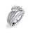Sterling Silver Rhodium Plated and CZ center stone Tirple Shank Wedding Set