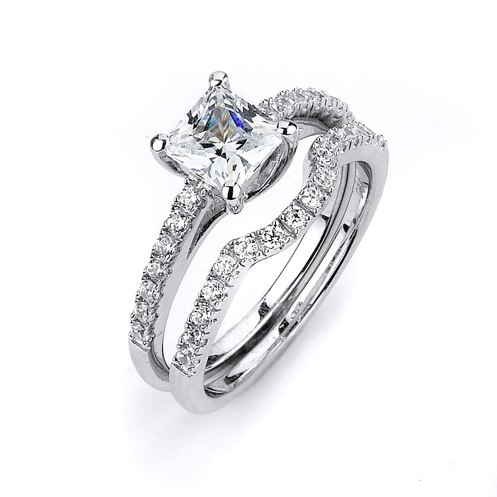 Sterling Silver Rhodium Plated and 6mm princess cut CZ center stone Engagement Ring
