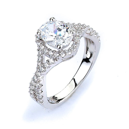 Sterling Silver Rhodium Plated and CZ Engagment Ring