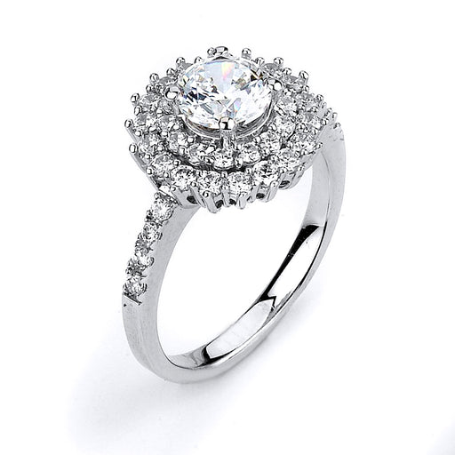 Sterling Silver Rhodium Plated and CZ Double Halo Engagement Ring