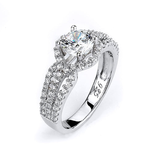 Sterling Silver Rhodium Plated and CZ center stone Triple Shank Engagment Ring