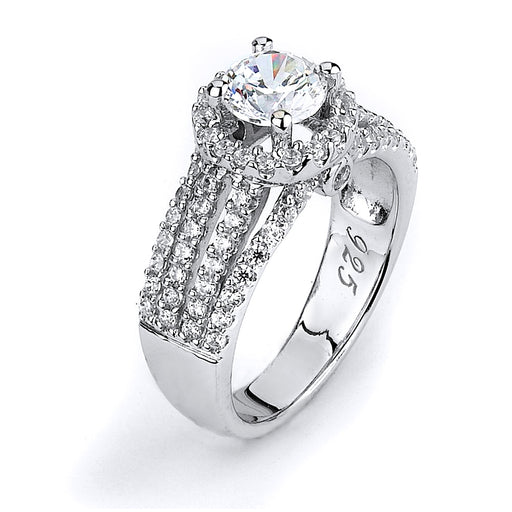 Sterling Silver and CZ Quadruple Shank Halo Engagment Ring