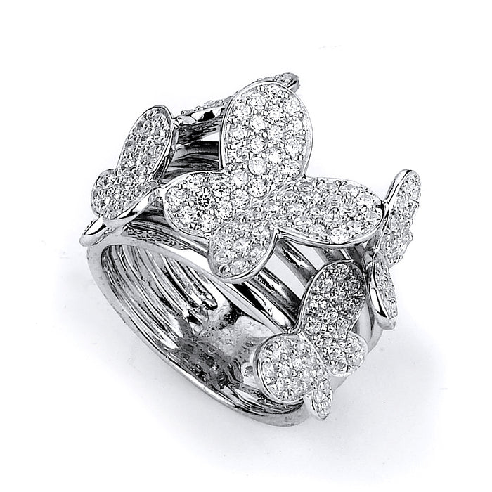 Sterling Silver Rhodium Plated and CZ Butterfly Ring