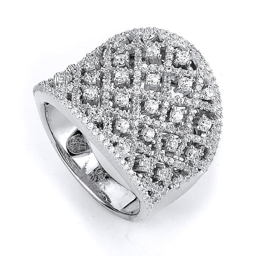 Sterling Silver Rhodium Plated and micro-pave CZ Ring