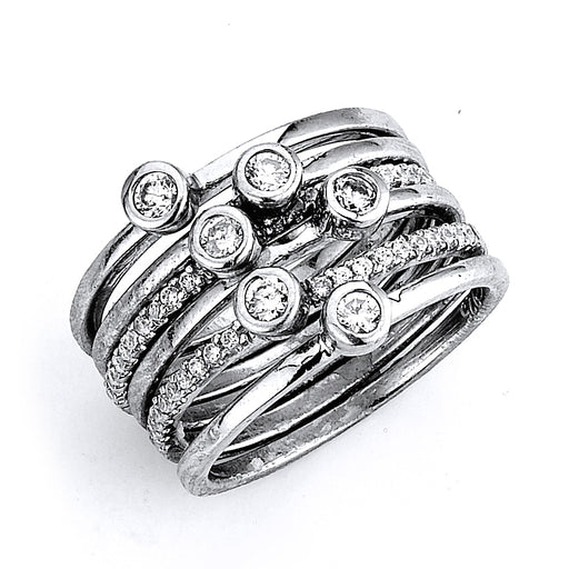 Sterling Silver Rhodium Plated and CZ 6 separate Rings