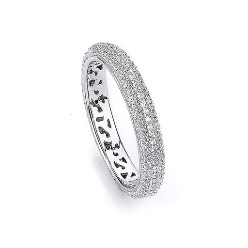 Sterling Silver Rhodium Plated and CZ Eternity Ring