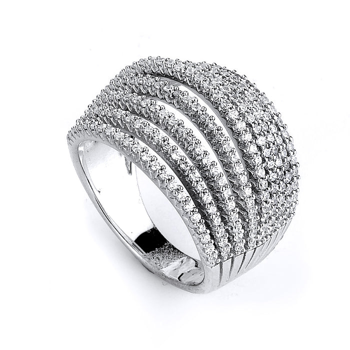 Sterling Silver Rhodium Plated and 9 rows of CZ Ring