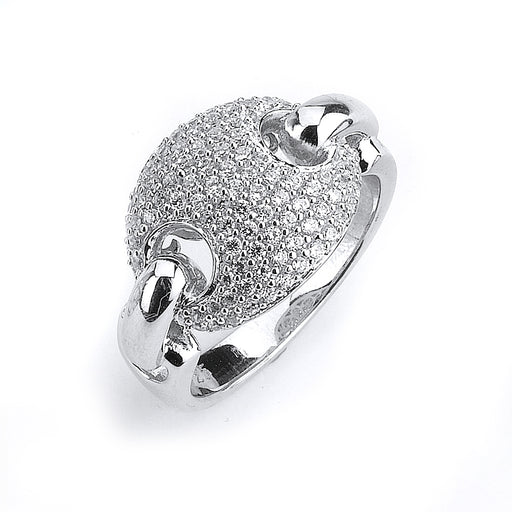Sterling Silver Rhodium Plated and CZ Link Ring