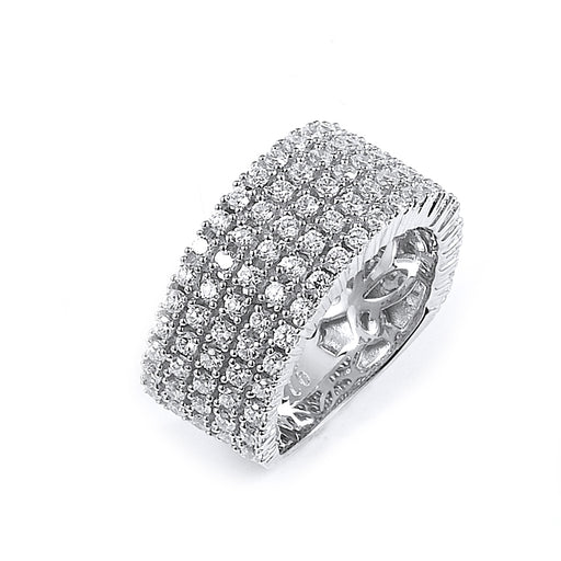 Sterling Silver Rhodium Plated and 5 rows of CZ Ring