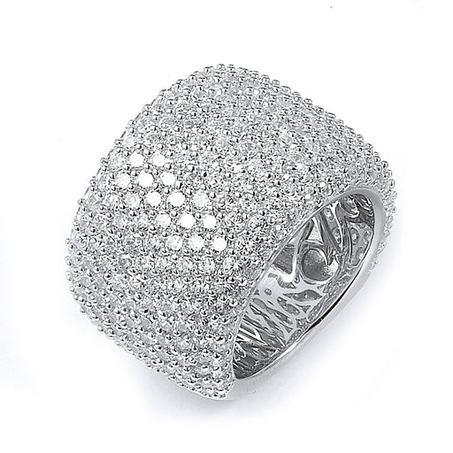 Sterling Silver Rhodium Plated and CZ Band